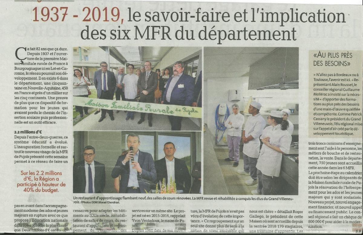 Inauguration des nouveaux locaux de la MFR Pujols