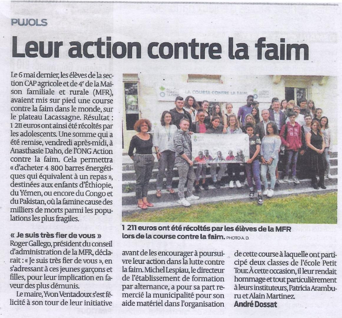 Les jeunes de la MFR courent pour Action contre la faim